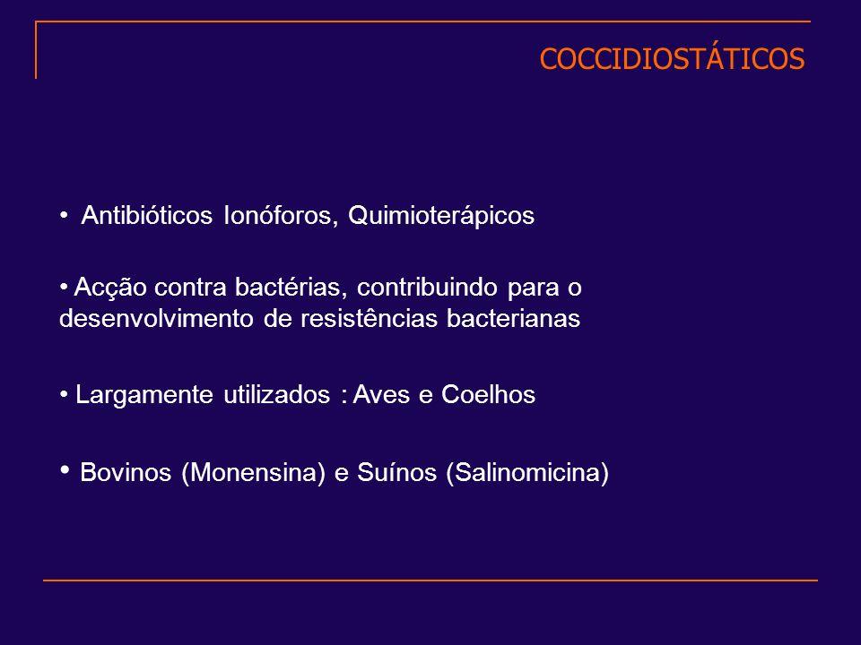 Largamente utilizados : Aves e Coelhos Antibióticos Ionóforos, Quimioterápicos Acção contra bactérias, contribuindo para o desenvolvimento de resistên