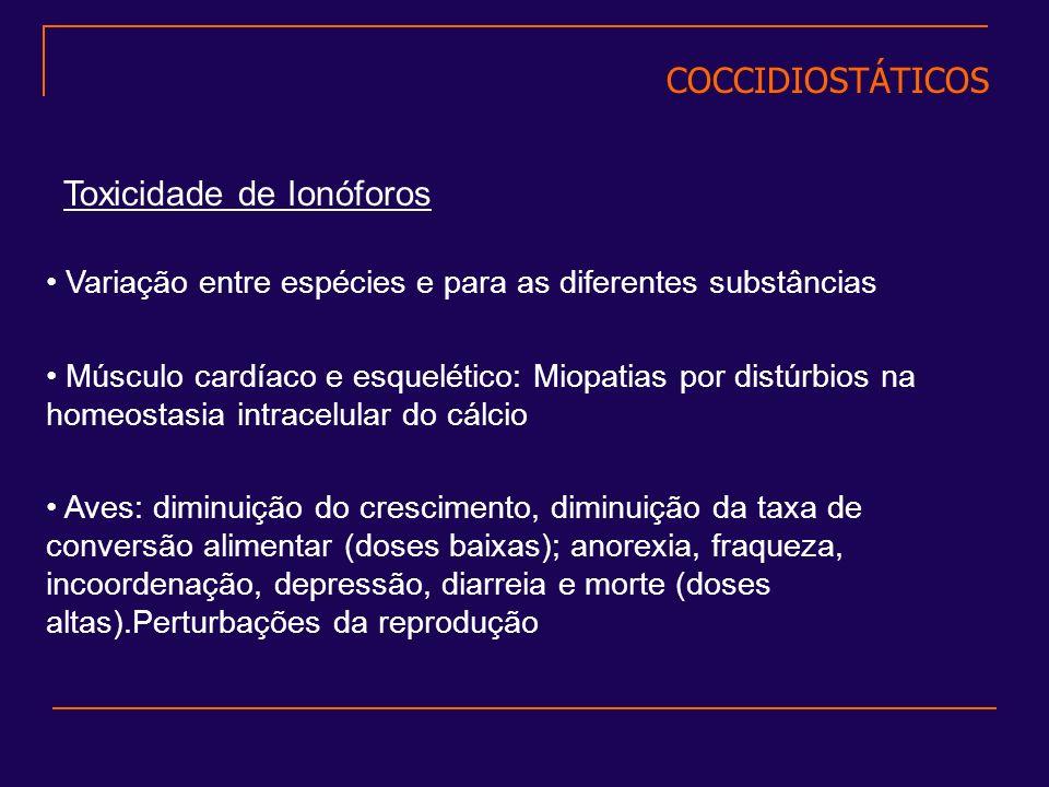 Toxicidade de Ionóforos Músculo cardíaco e esquelético: Miopatias por distúrbios na homeostasia intracelular do cálcio Aves: diminuição do crescimento