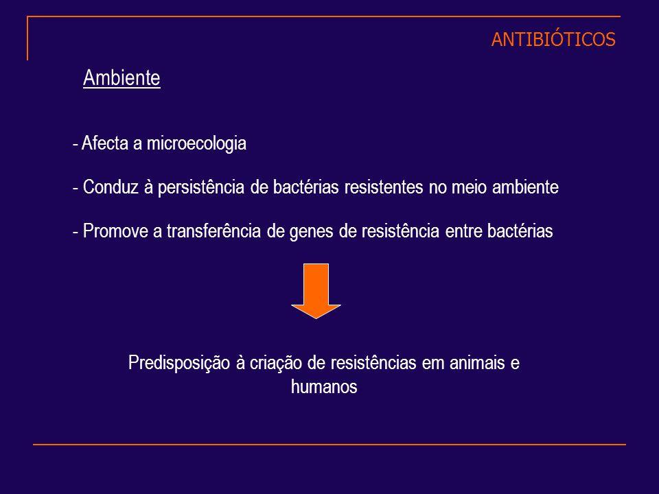 - Afecta a microecologia - Conduz à persistência de bactérias resistentes no meio ambiente - Promove a transferência de genes de resistência entre bac