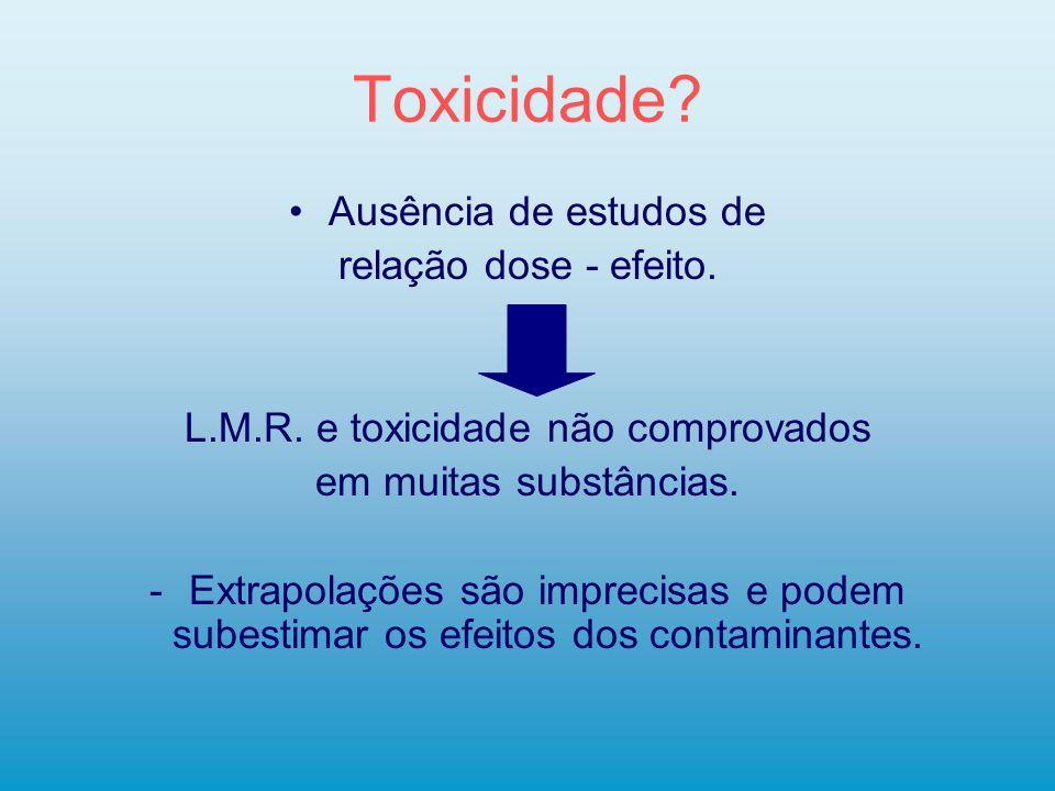 Toxicidade? Ausência de estudos de relação dose - efeito. L.M.R. e toxicidade não comprovados em muitas substâncias. -Extrapolações são imprecisas e p