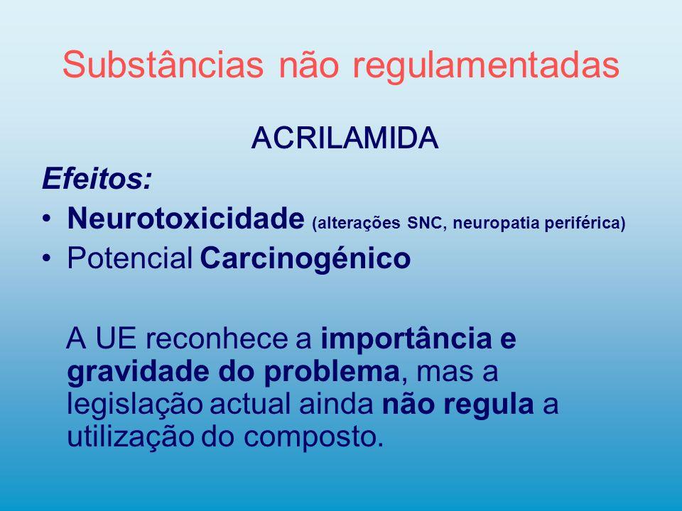 Substâncias não regulamentadas ACRILAMIDA Efeitos: Neurotoxicidade (alterações SNC, neuropatia periférica) Potencial Carcinogénico A UE reconhece a im