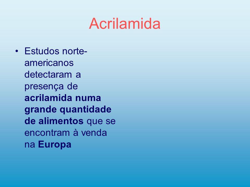 Acrilamida Estudos norte- americanos detectaram a presença de acrilamida numa grande quantidade de alimentos que se encontram à venda na Europa