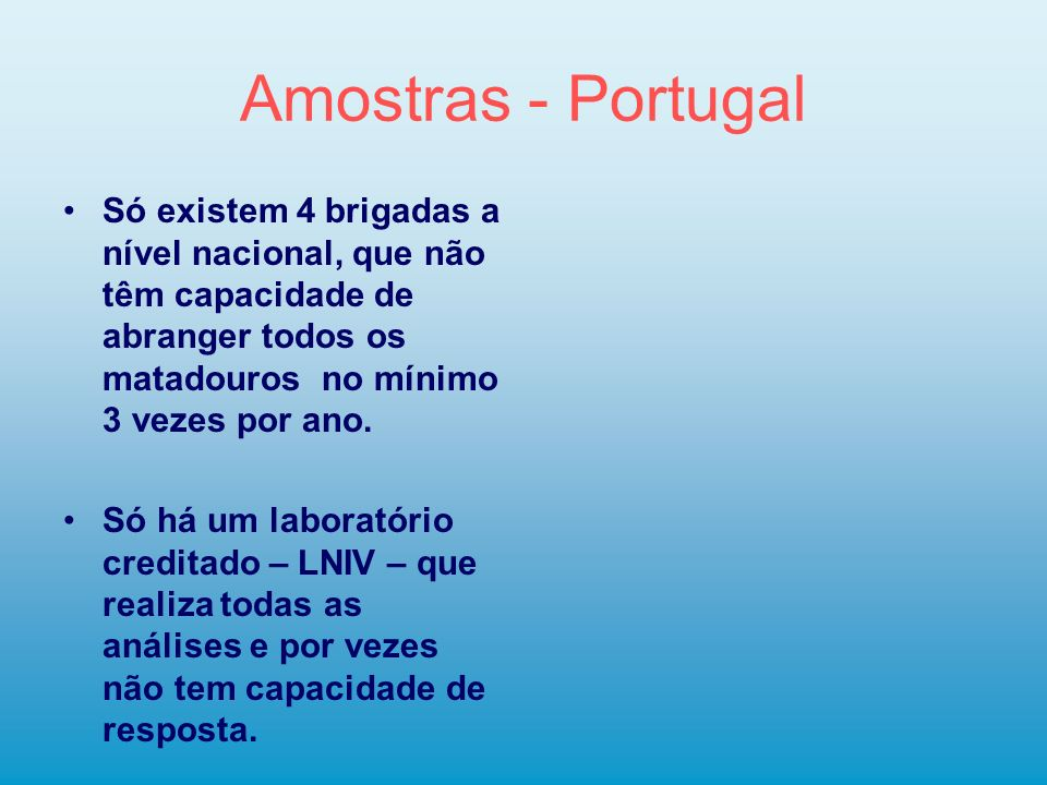 Amostras - Portugal Só existem 4 brigadas a nível nacional, que não têm capacidade de abranger todos os matadouros no mínimo 3 vezes por ano. Só há um