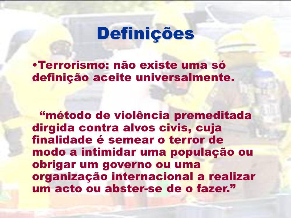 Definições Terrorismo: não existe uma só definição aceite universalmente.