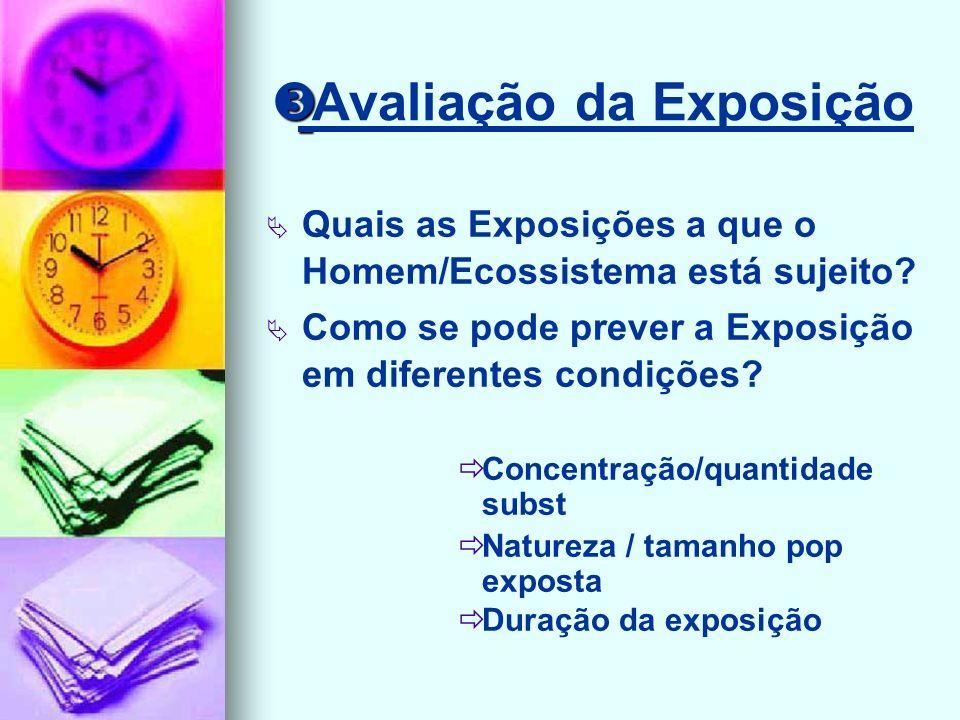 Avaliação da Exposição Quais as Exposições a que o Homem/Ecossistema está sujeito.