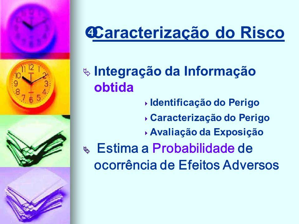 Caracterização do Risco Integração da Informação obtida Identificação do Perigo Caracterização do Perigo Avaliação da Exposição Estima a Probabilidade de ocorrência de Efeitos Adversos