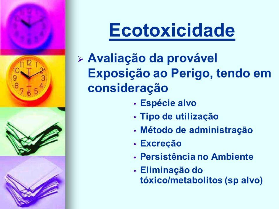 Ecotoxicidade Avaliação da provável Exposição ao Perigo, tendo em consideração Espécie alvo Tipo de utilização Método de administração Excreção Persistência no Ambiente Eliminação do tóxico/metabolitos (sp alvo)