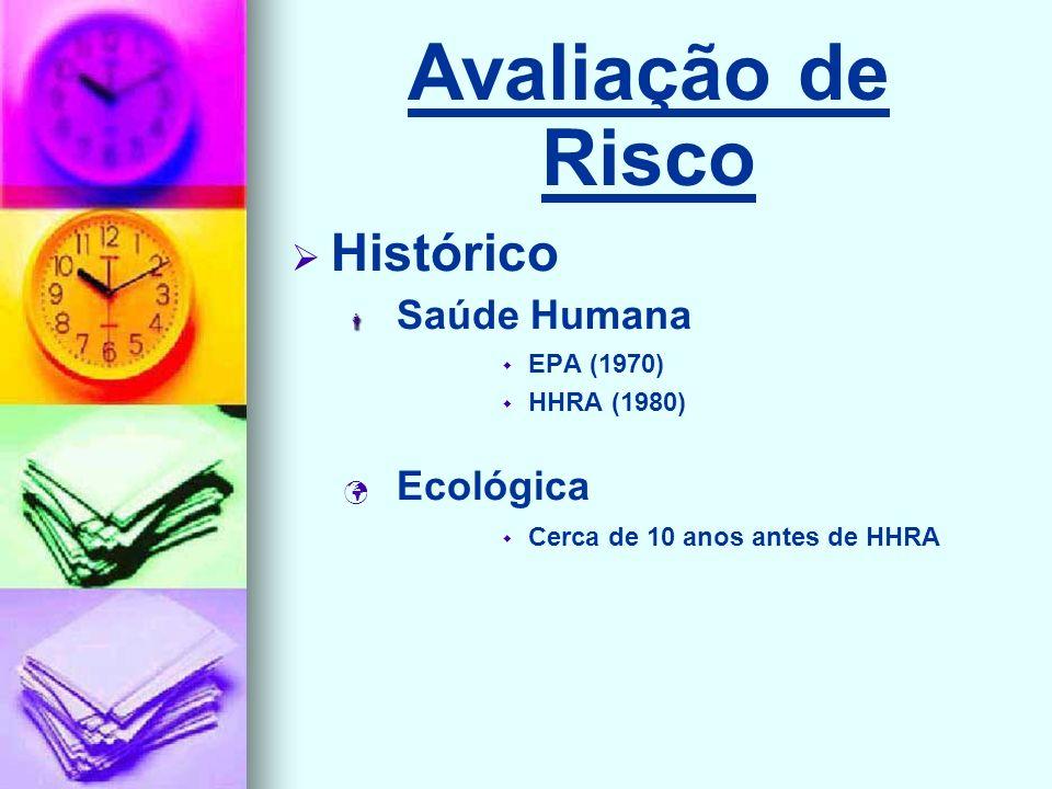 Avaliação de Risco Histórico Saúde Humana EPA (1970) HHRA (1980) Ecológica Cerca de 10 anos antes de HHRA