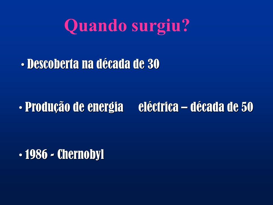 Quando surgiu? Descoberta na década de 30 Descoberta na década de 30 Produção de energia eléctrica – década de 50 Produção de energia eléctrica – déca