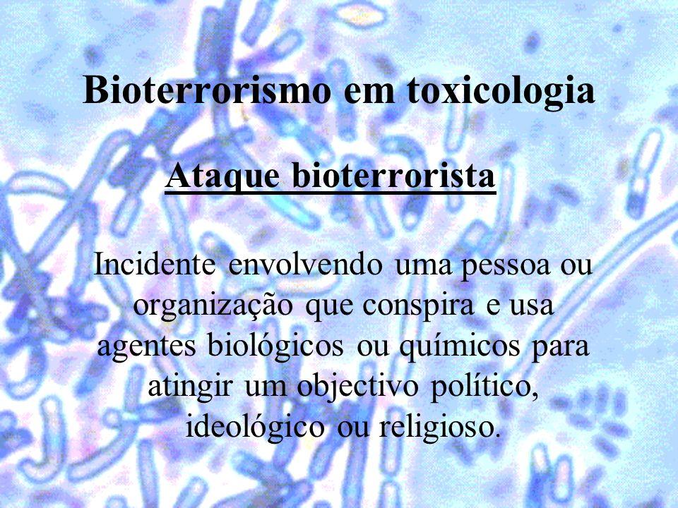 Bioterrorismo em toxicologia Ataque bioterrorista Incidente envolvendo uma pessoa ou organização que conspira e usa agentes biológicos ou químicos par