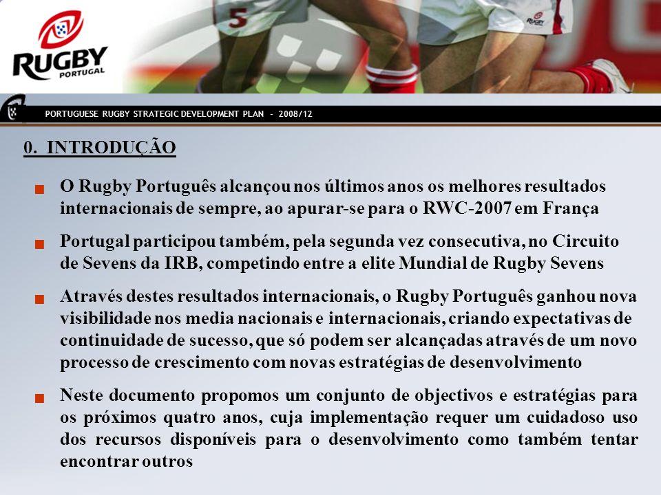 0. INTRODUÇÃO O Rugby Português alcançou nos últimos anos os melhores resultados internacionais de sempre, ao apurar-se para o RWC-2007 em França Port