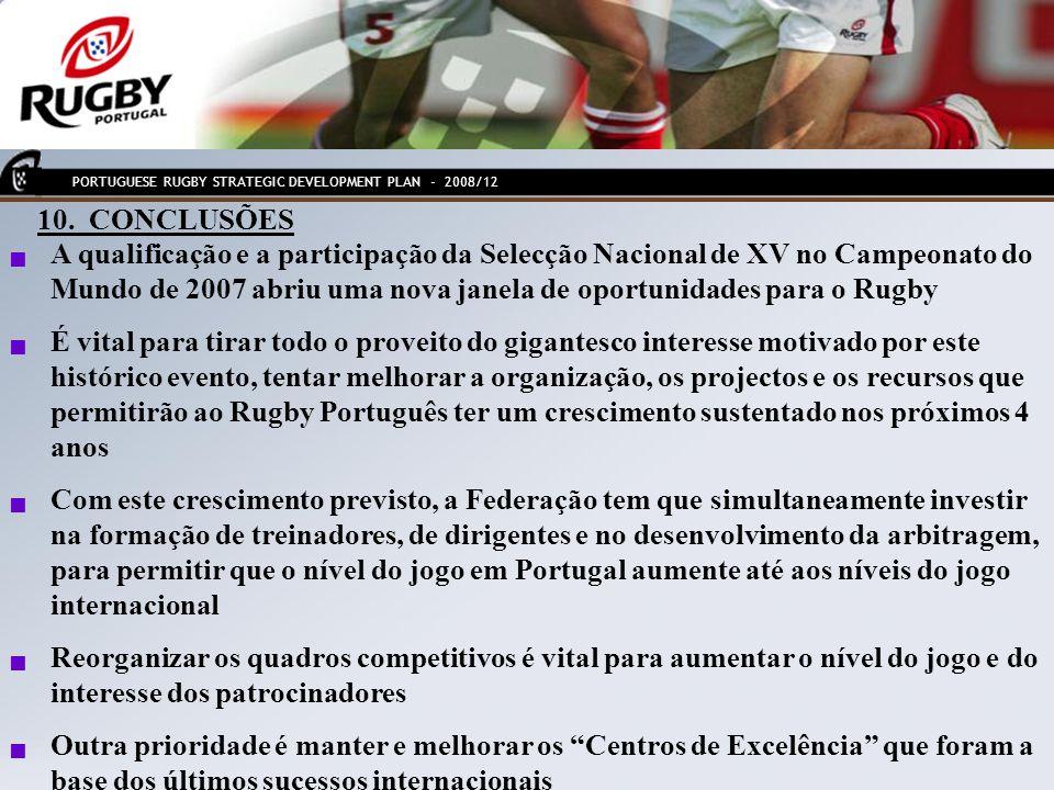 PORTUGUESE RUGBY STRATEGIC DEVELOPMENT PLAN - 2008/12 10. CONCLUSÕES A qualificação e a participação da Selecção Nacional de XV no Campeonato do Mundo