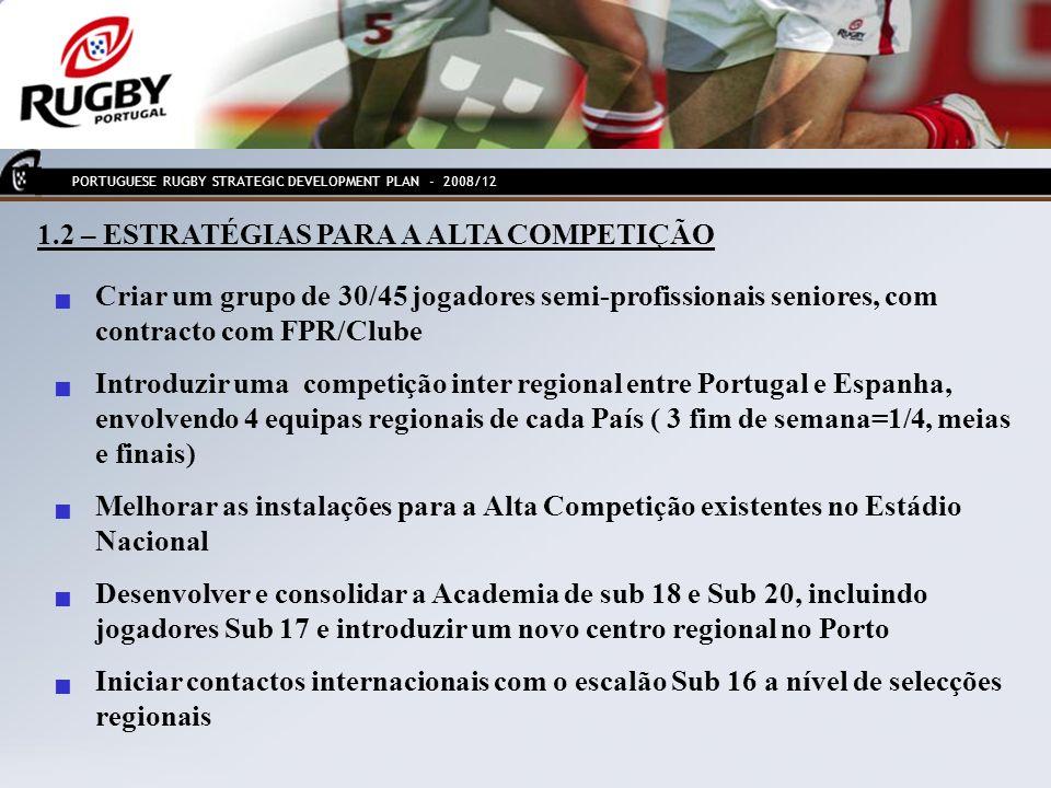 7.1 - OBJECTIVOS DE DESENVOLVIMENTO PARA O RUGBY FEMININO Aumentar o actual número de 200 jogadoras para 400 (+ 100% de novos jogadoras em 4 anos) Aumentar o actual número de 9 Clubes com equipas de rugby Feminino para 15 (+ 6 clubes) Introduzir Estágios de Aperfeiçoamento (3 por ano) Criação de novo escalão Sub 15/16 PORTUGUESE RUGBY STRATEGIC DEVELOPMENT PLAN - 2008/12