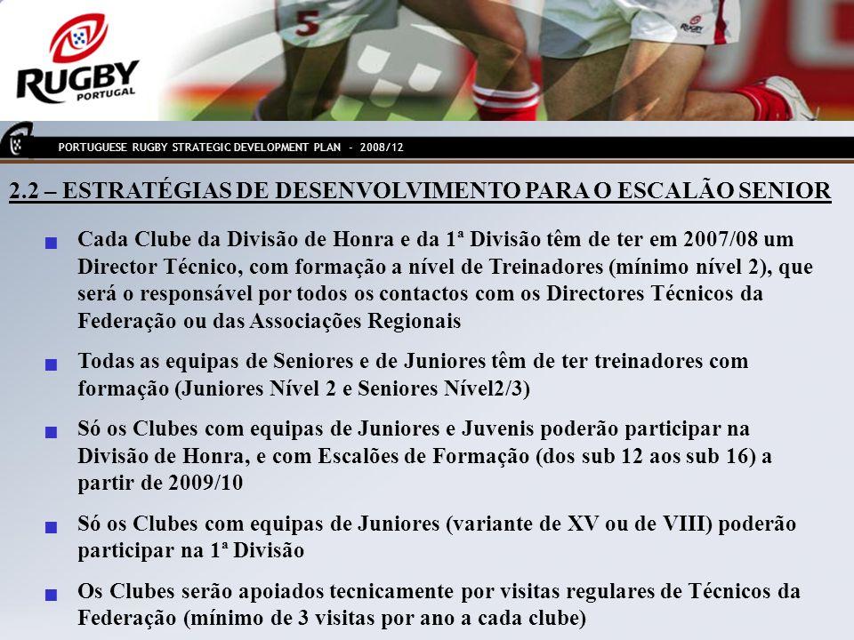 2.2 – ESTRATÉGIAS DE DESENVOLVIMENTO PARA O ESCALÃO SENIOR Cada Clube da Divisão de Honra e da 1ª Divisão têm de ter em 2007/08 um Director Técnico, c