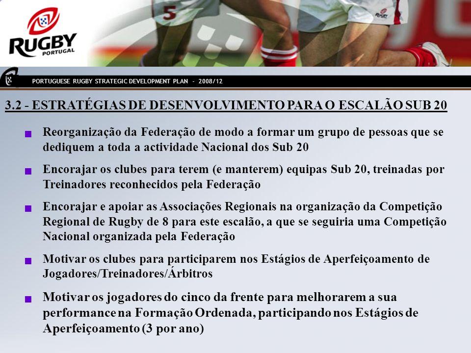 4.1 - OBJECTIVOS DE DESENVOLVIMENTO PARA O ESCALÃO SUB 18 Criação de um novo escalão Sub 18 de acordo com apolítica definida pela IRB Aumentar o actual número de 535 jogadores Sub 18 para 750 (+ 50% novos jogadores em 4 anos) Aumentar o actual número de 21 Clubes com equipas Sub 18 para 31 (+ 10 clubes) Consolidar e desenvolver os Torneios Regionais e Nacionais de Rugby de 8, com um crescimento dos actuais 6/7 equipas para 10/12 Introduzir de forma mais regular, estágios de aperfeiçoamento para Jogadores/Treinadores/Árbitros PORTUGUESE RUGBY STRATEGIC DEVELOPMENT PLAN - 2008/12