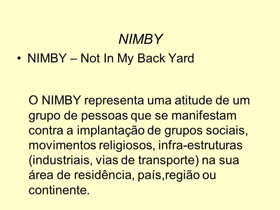 NIMBY – Not In My Back Yard O NIMBY representa uma atitude de um grupo de pessoas que se manifestam contra a implantação de grupos sociais, movimentos religiosos, infra-estruturas (industriais, vias de transporte) na sua área de residência, país,região ou continente.