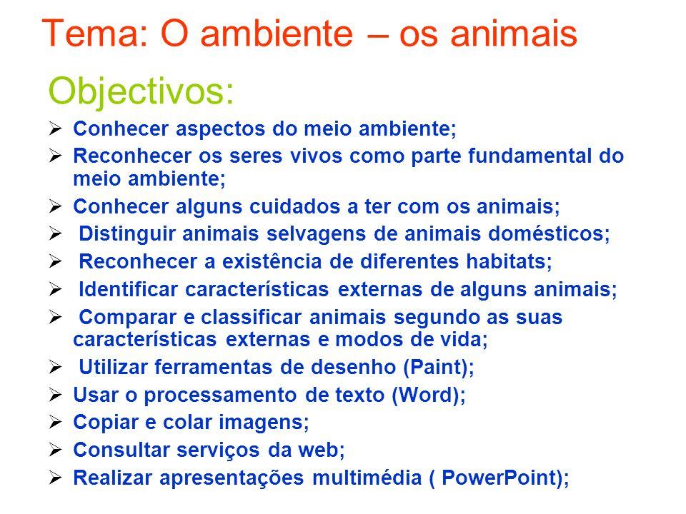 Tema: O ambiente – os animais Objectivos: Conhecer aspectos do meio ambiente; Reconhecer os seres vivos como parte fundamental do meio ambiente; Conhe