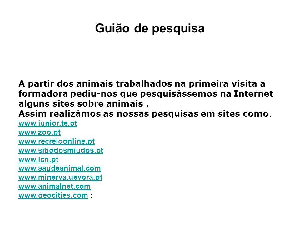 Guião de pesquisa A partir dos animais trabalhados na primeira visita a formadora pediu-nos que pesquisássemos na Internet alguns sites sobre animais.