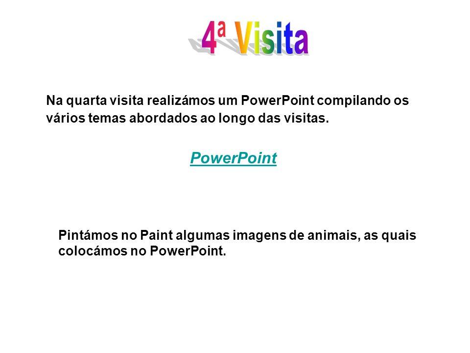 Na quarta visita realizámos um PowerPoint compilando os vários temas abordados ao longo das visitas. PowerPoint Pintámos no Paint algumas imagens de a