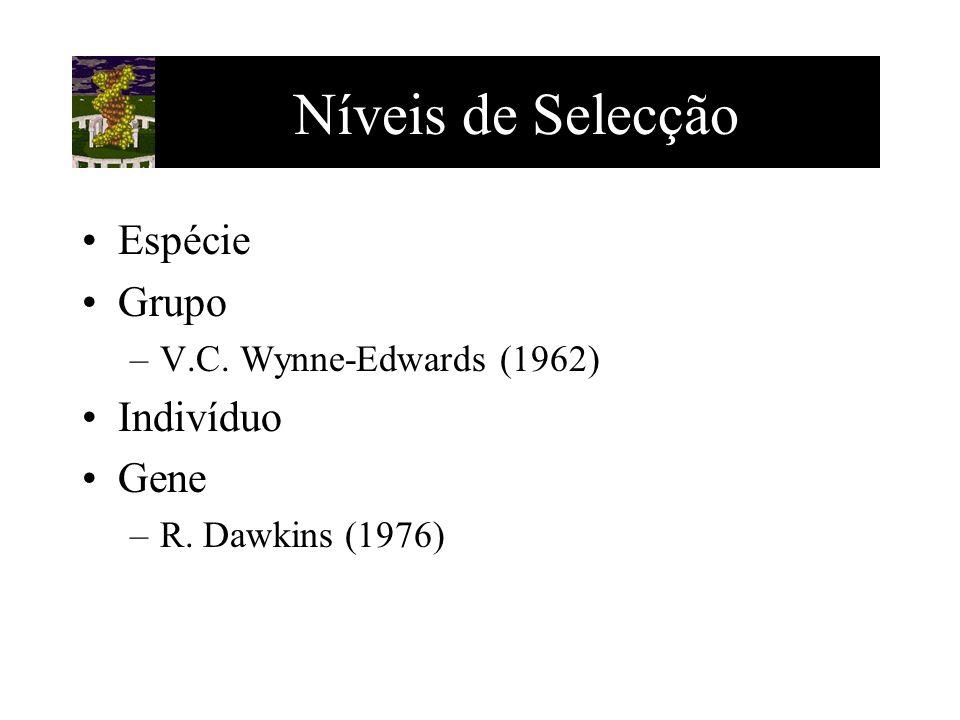 Níveis de Selecção Espécie Grupo –V.C. Wynne-Edwards (1962) Indivíduo Gene –R. Dawkins (1976)