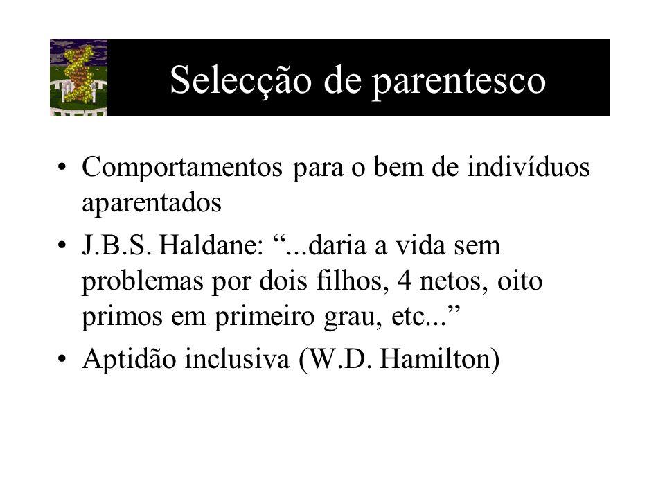 Selecção de parentesco Comportamentos para o bem de indivíduos aparentados J.B.S. Haldane:...daria a vida sem problemas por dois filhos, 4 netos, oito