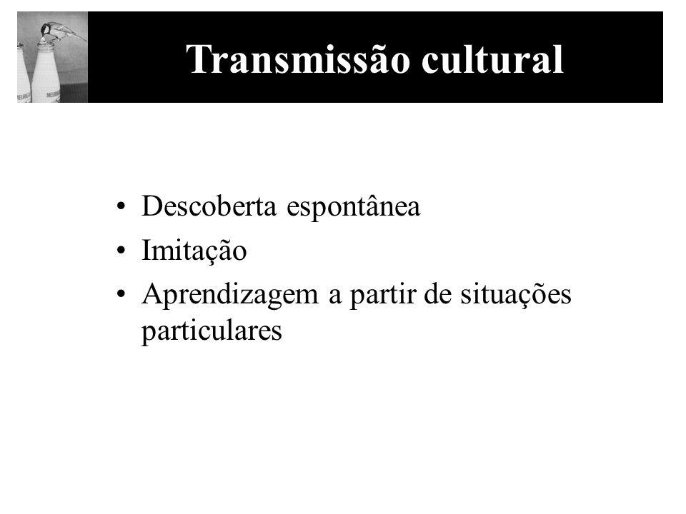 Descoberta espontânea Imitação Aprendizagem a partir de situações particulares Transmissão cultural