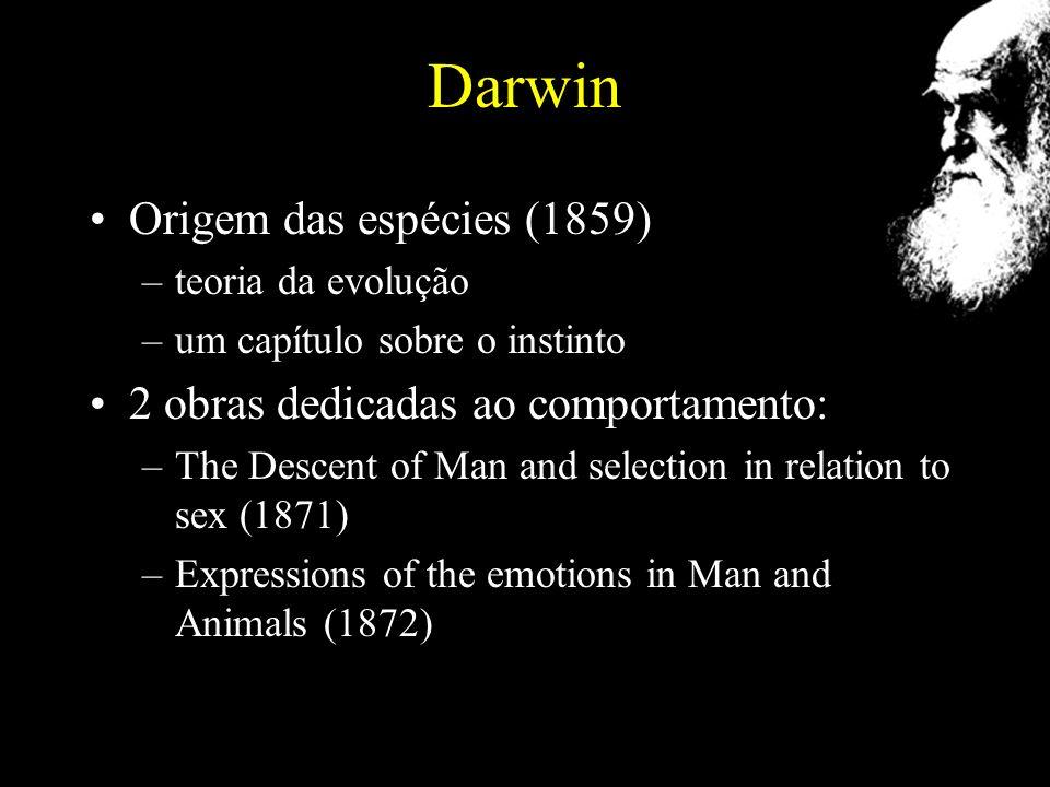 Darwin Origem das espécies (1859) –teoria da evolução –um capítulo sobre o instinto 2 obras dedicadas ao comportamento: –The Descent of Man and selection in relation to sex (1871) –Expressions of the emotions in Man and Animals (1872)
