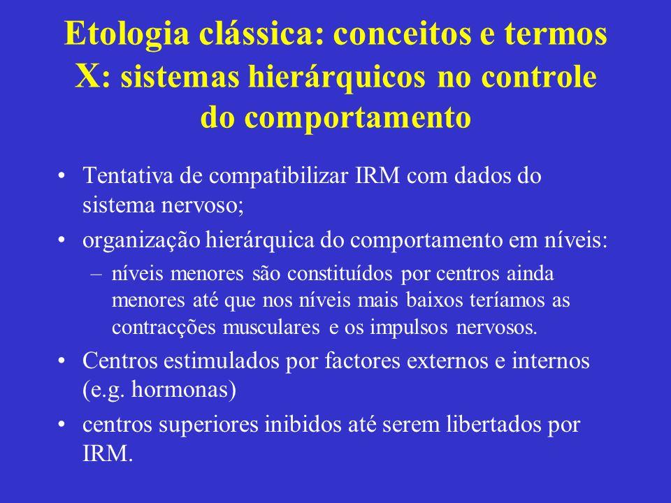 Etologia clássica: conceitos e termos X : sistemas hierárquicos no controle do comportamento Tentativa de compatibilizar IRM com dados do sistema nerv