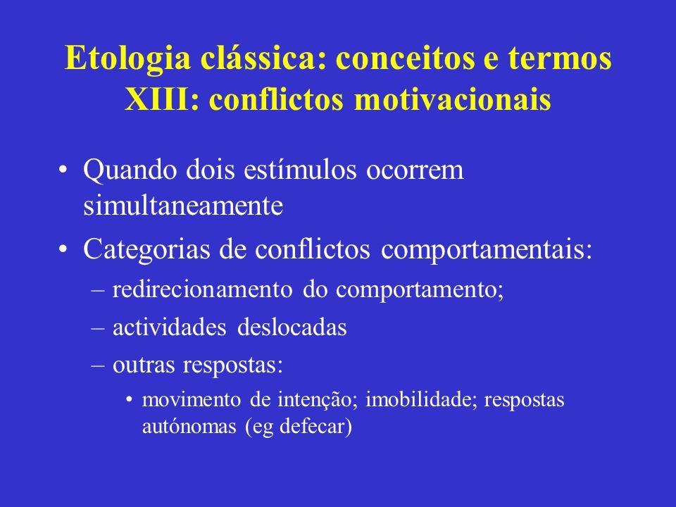 Etologia clássica: conceitos e termos XIII: conflictos motivacionais Quando dois estímulos ocorrem simultaneamente Categorias de conflictos comportame
