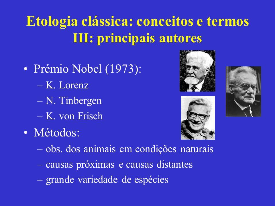 Etologia clássica: conceitos e termos III: principais autores Prémio Nobel (1973): –K. Lorenz –N. Tinbergen –K. von Frisch Métodos: –obs. dos animais