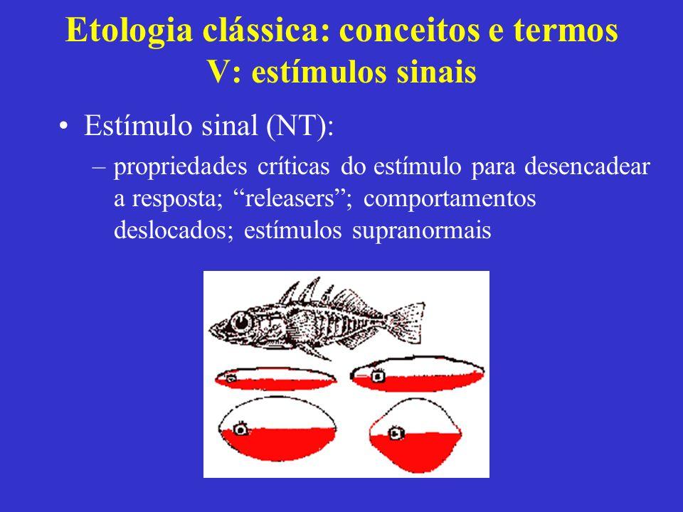 Etologia clássica: conceitos e termos V: estímulos sinais Estímulo sinal (NT): –propriedades críticas do estímulo para desencadear a resposta; release