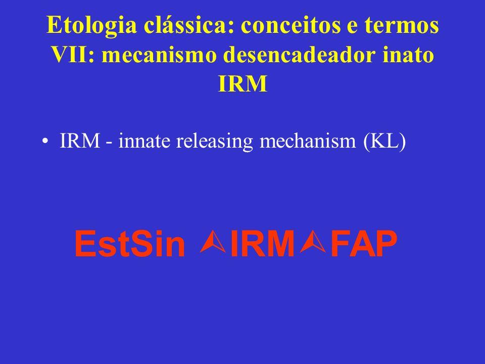 Etologia clássica: conceitos e termos VII: mecanismo desencadeador inato IRM IRM - innate releasing mechanism (KL) EstSin IRM FAP
