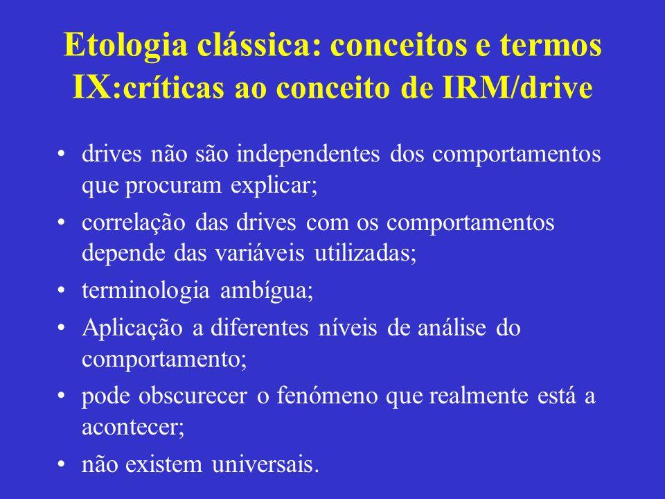 Etologia clássica: conceitos e termos IX :críticas ao conceito de IRM/drive drives não são independentes dos comportamentos que procuram explicar; cor
