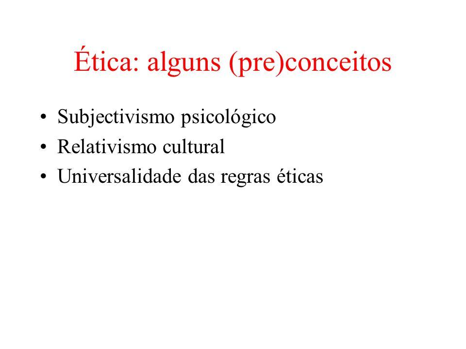 Ética: alguns (pre)conceitos Subjectivismo psicológico Relativismo cultural Universalidade das regras éticas