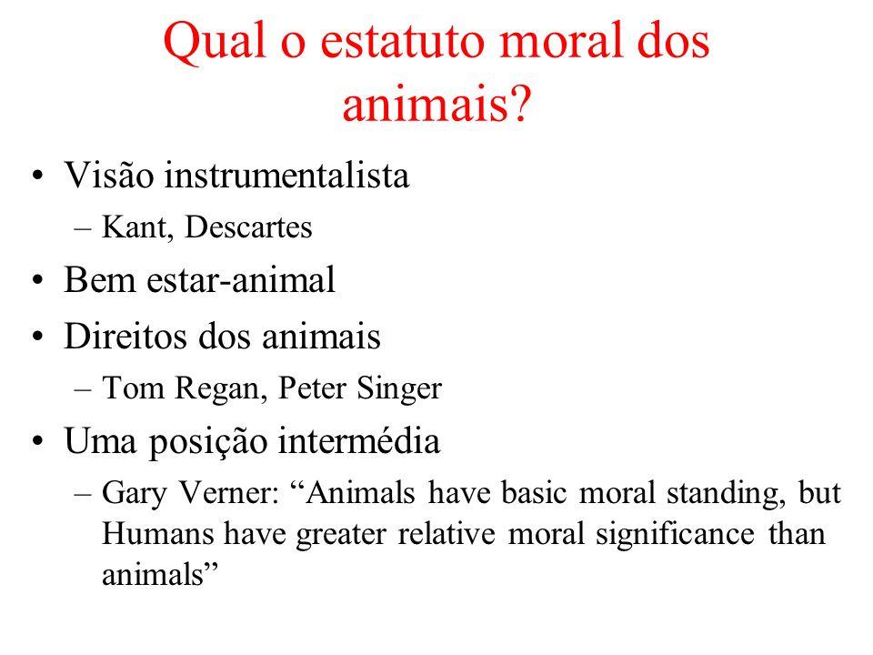 Qual o estatuto moral dos animais? Visão instrumentalista –Kant, Descartes Bem estar-animal Direitos dos animais –Tom Regan, Peter Singer Uma posição