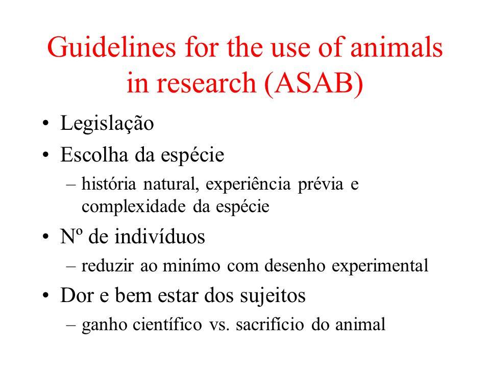 Guidelines for the use of animals in research (ASAB) Legislação Escolha da espécie –história natural, experiência prévia e complexidade da espécie Nº