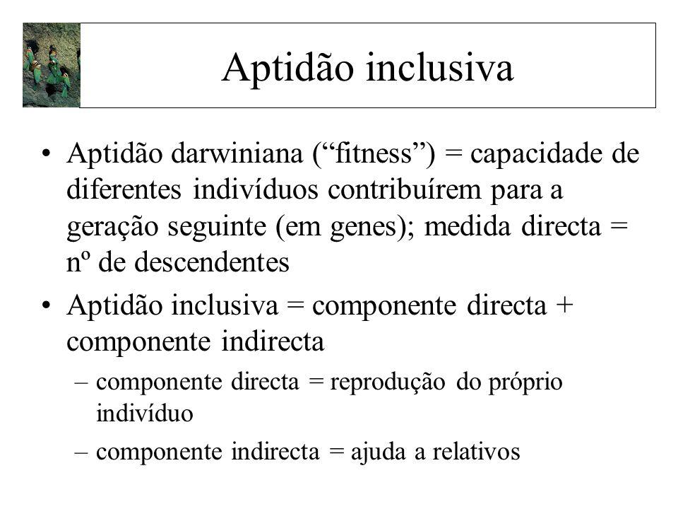 Aptidão darwiniana (fitness) = capacidade de diferentes indivíduos contribuírem para a geração seguinte (em genes); medida directa = nº de descendente