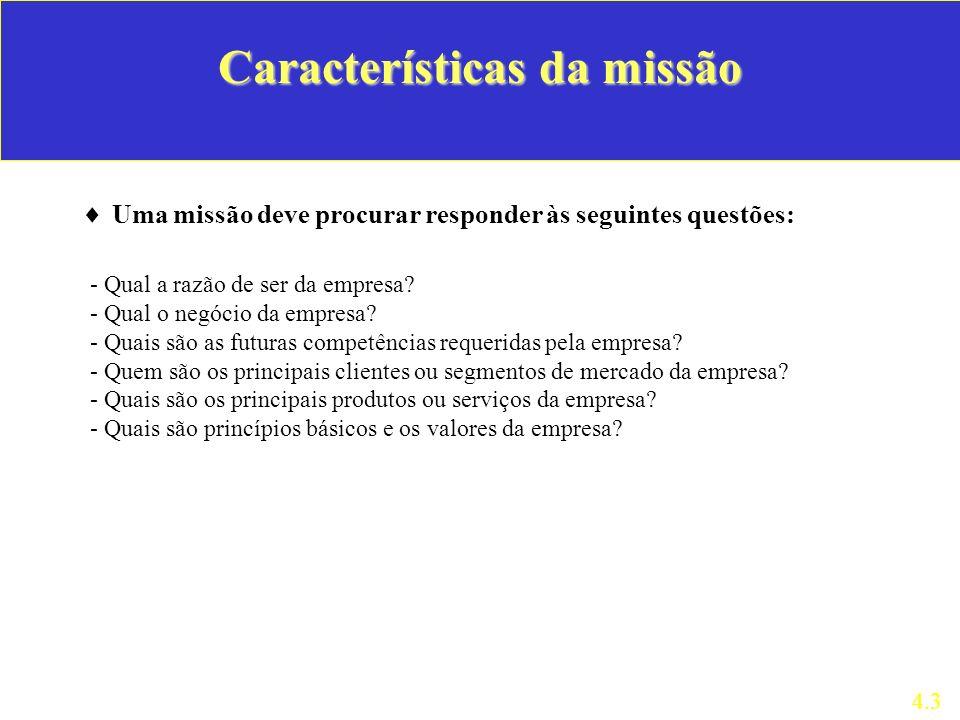Características da missão Uma missão deve procurar responder às seguintes questões: 4.3 - Qual a razão de ser da empresa? - Qual o negócio da empresa?