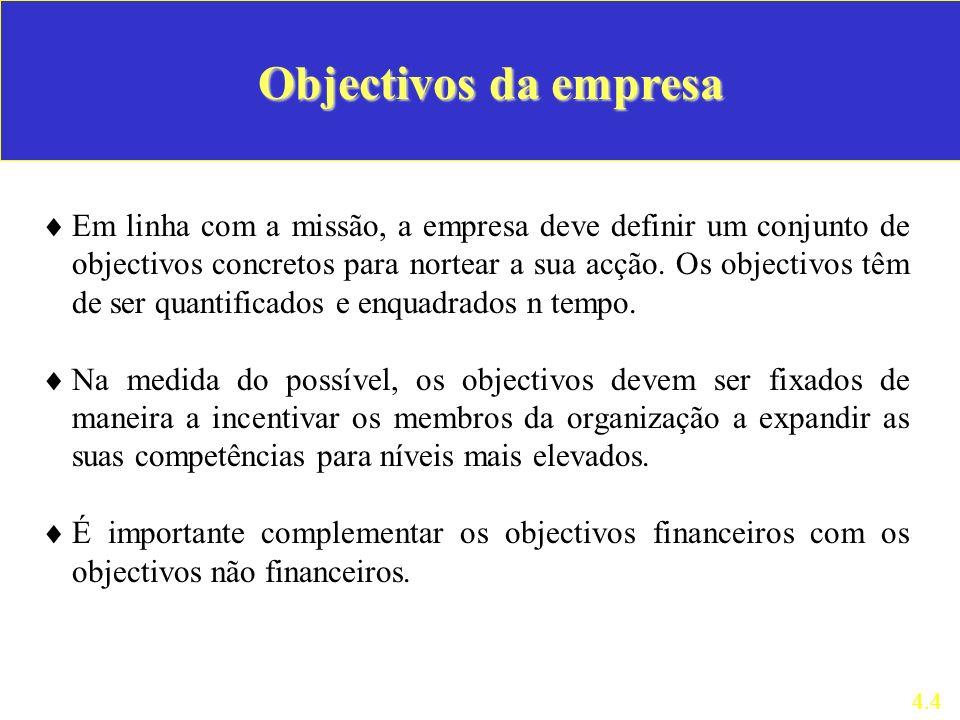 Em linha com a missão, a empresa deve definir um conjunto de objectivos concretos para nortear a sua acção. Os objectivos têm de ser quantificados e e