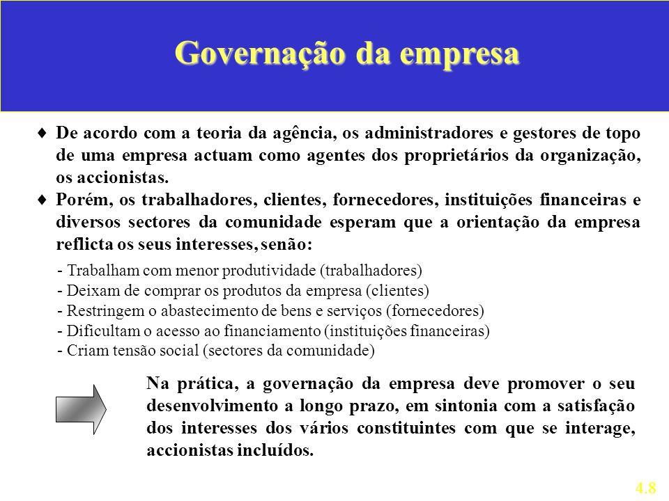 Governação da empresa De acordo com a teoria da agência, os administradores e gestores de topo de uma empresa actuam como agentes dos proprietários da