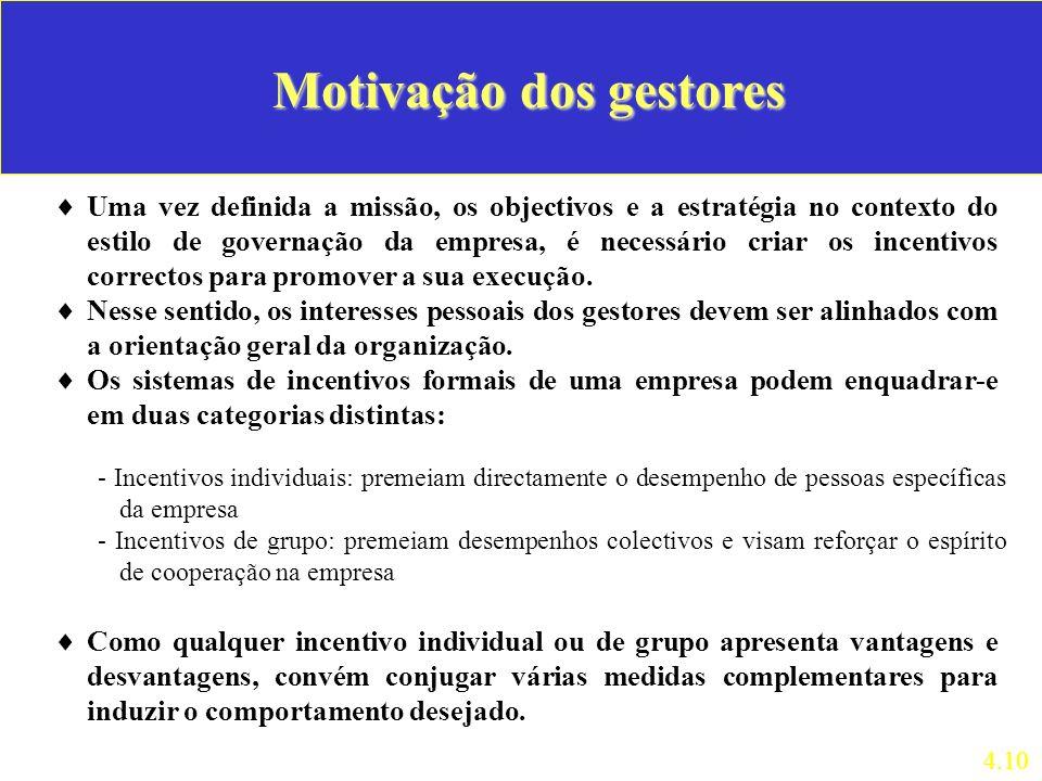 Motivação dos gestores Uma vez definida a missão, os objectivos e a estratégia no contexto do estilo de governação da empresa, é necessário criar os i