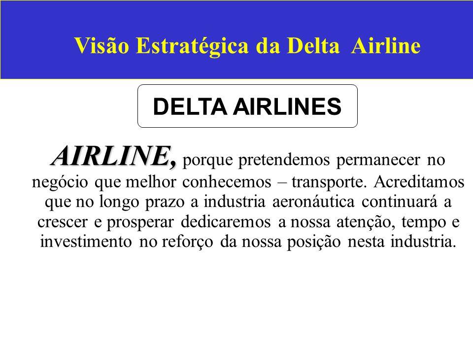 Visão Estratégica da Delta Airline AIRLINE, AIRLINE, porque pretendemos permanecer no negócio que melhor conhecemos – transporte. Acreditamos que no l