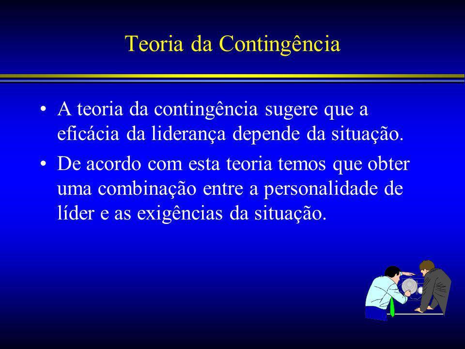 Teoria da Contingência A teoria da contingência sugere que a eficácia da liderança depende da situação.