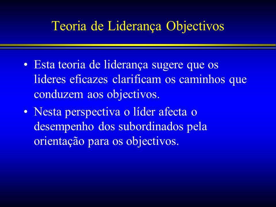 Teoria de Liderança Objectivos Esta teoria de liderança sugere que os lideres eficazes clarificam os caminhos que conduzem aos objectivos.