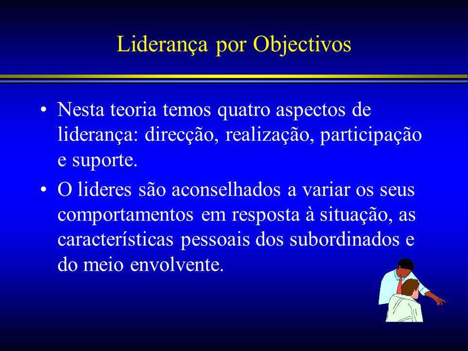 Liderança por Objectivos Nesta teoria temos quatro aspectos de liderança: direcção, realização, participação e suporte.