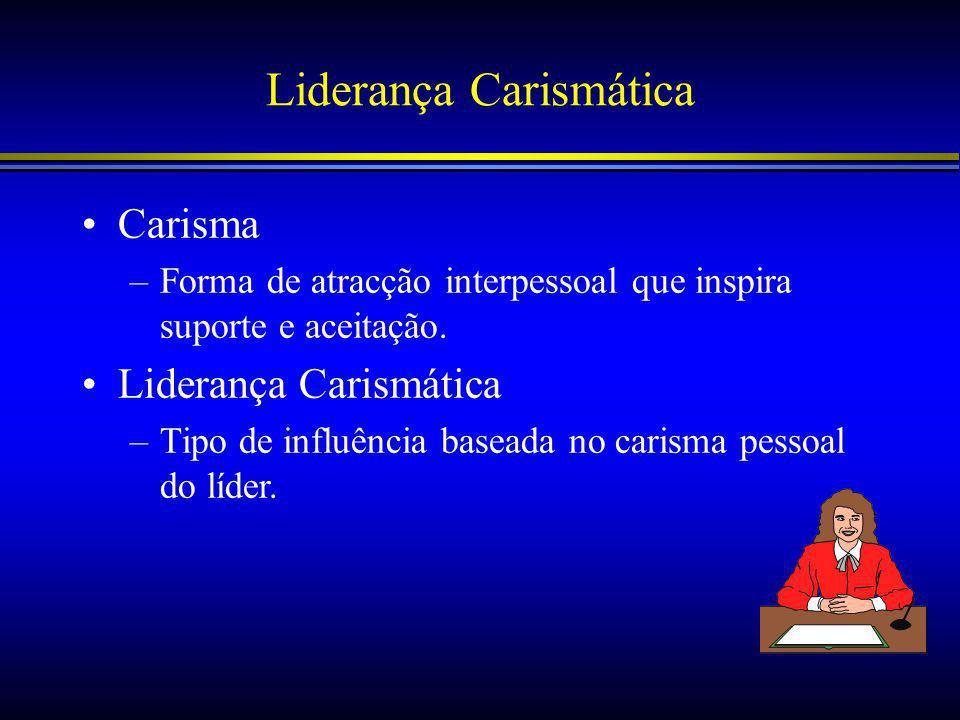 Liderança Carismática Carisma –Forma de atracção interpessoal que inspira suporte e aceitação.