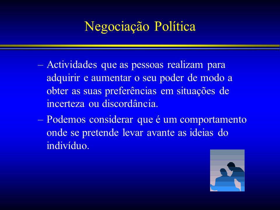 Negociação Política –Actividades que as pessoas realizam para adquirir e aumentar o seu poder de modo a obter as suas preferências em situações de incerteza ou discordância.