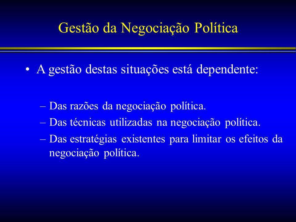 Gestão da Negociação Política A gestão destas situações está dependente: –Das razões da negociação política.