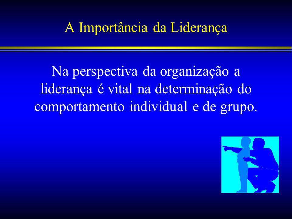A Importância da Liderança Na perspectiva da organização a liderança é vital na determinação do comportamento individual e de grupo.