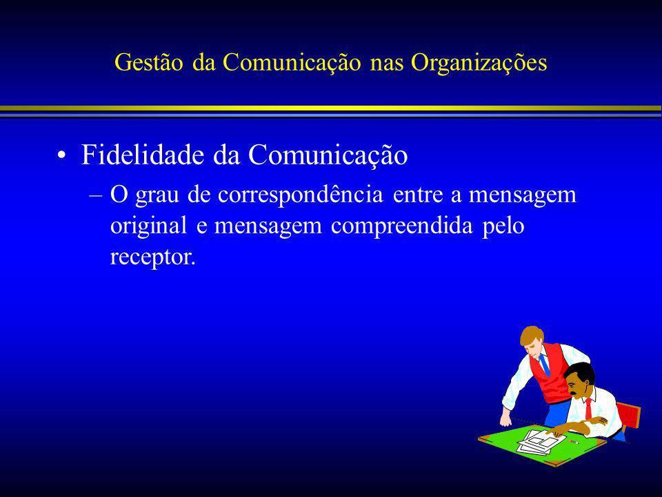 Gestão da Comunicação nas Organizações Fidelidade da Comunicação –O grau de correspondência entre a mensagem original e mensagem compreendida pelo receptor.